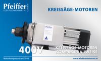 Kreissägemotor 400 V, Kompaktbauweise, optional mit Bremse - Zum Vergrößern klicken
