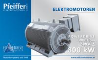 Powerdrive DS-Asynchronmotor für Pumpenantrieb, 800 kW, 690 V D, 3000 Upm, IC 411 - Zum Vergrößern klicken
