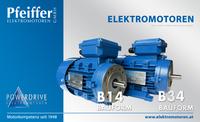 Powerdrive Elektromotoren in Bauform B14 (Flanschmontage | links) und in Bauform B34 (Flanschmontage und Füße | rechts) - Zum Vergrößern klicken
